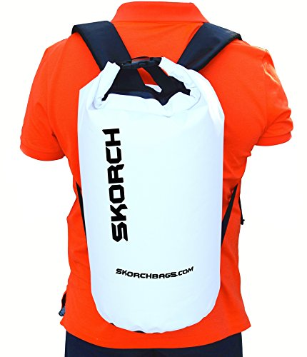 Waterproof Backpack Dry Bag 30L (White with Black). Protects Your Gear From Water and Dirt While You Have Fun. Beach, Kayak, Paddle Board, Camping, Sailing and Skiing.
