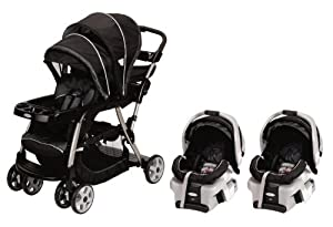 Graco Ready2Grow LX Baby Stoller & SnugRide Twin Travel System - Metropolis