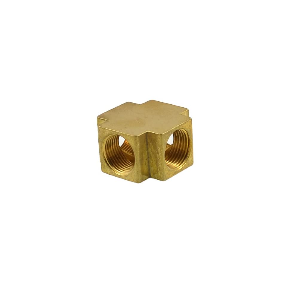 uxcell® Brass PT 3/8 Thread 4 Ways Cross Connector Pipe Adapter Coupler