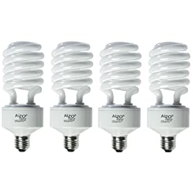  ALZO Digital Full Spectrum Light Bulb - ALZO 45W Photo CFL 5500K 91 CRI, Daylight balanced, pure white light, 2800 Lumens, Case of 4