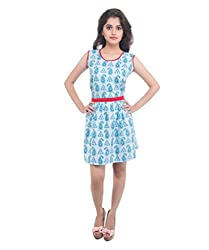 Lal Chhadi Women's Cotton Sleeveless Short Dress (KLSD009-S_Blue_Small)