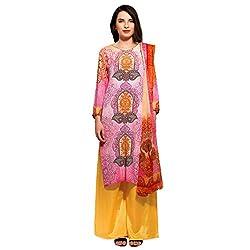 Bhelpuri Women Pink Crepe Dress Material