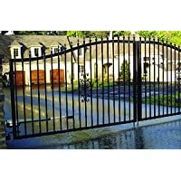 Mighty Mule St. Augustine 14 ft. x 5 ft. 2 in. Powder Coated Steel Dual Driveway Fence Gate