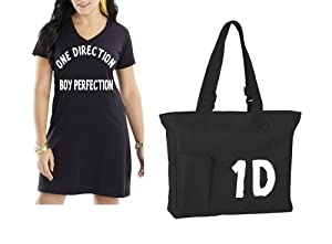 One Direction T-shirt Dress Bathing Suit Cover Up Tee Matching Tote Bag Black White Womens Size Small Medium