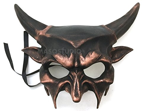 Steampunk Copper Horned Devil Mask Animal Masquerade Halloween Cosplay Haunted House party mask Art Wall Deco (Paper Mache Masquerade Mask compare prices)