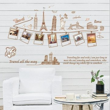 """Travel All The Way""Removable Living Room Television Background Environmental Pvc Wall Photo Stickers European And American Famous Buildings front-719655"