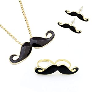 Mustache Jewelry Set - Necklace with Mustache Pendant, Mustache Earrings and Double Mustache Ring. The Retro Jewelry Set 4 Pieces + Alcohol Pad