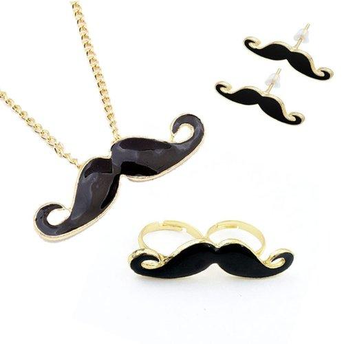 Mustache Jewelry Set - Necklace  Mustache Pendant,