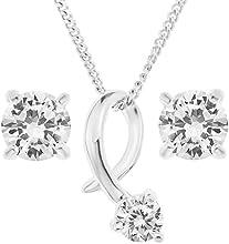 Ornami D05PC1914 - Juego de joyas de plata de ley con circonita