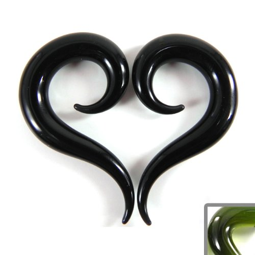Emerald Color Tail Shape Glass Handmade Spiral Tapers - Each One Unique - 00g (10mm) - Sold as a Pair