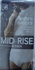 Kirkland Men's Cotton Briefs Size 32-38 (White - Pack of 6) (36)