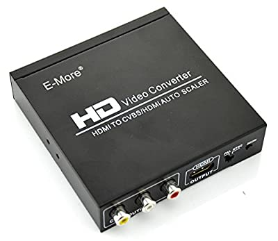 E-More® Full HD 1080P HDMI to HDMI CVBS L/R Scaler Converter With Zoom Function Supporting HDCP HDMI 1.3 NTSC PAL TV Format For PS3 XBOX360