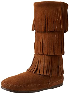 Minnetonka Women's Calf Hi 3-Layer Fringe Boot,Dusty Brown,5 M US