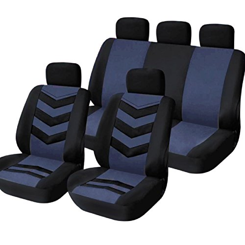 TIROL Universal Car Seat Cover Black Gray/Blue 9Pcs Seat Covers For Crossovers SUV Sedans (Blue Car Seat Covers For A Sedan compare prices)