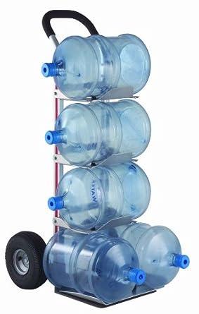 "Magline HBK128HM4 Aluminum Bottle Water Hand Truck, Loop Handle, Pneumatic Wheels, Silver, 500 lbs Load Capacity,  55"" Height, 11"" Width x 20"" Depth"