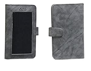 Jo Jo A11 Omni Leather Carry Case Pouch Wallet S View For BLU Jenny TV 2.8 Dark Grey
