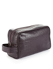 Leather Mock Crocodile Skin Washbag