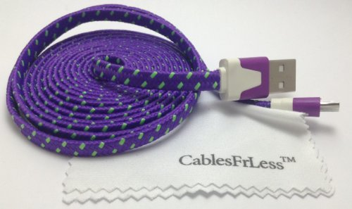 Cablesfrless (Tm) 6Ft Flat Braided Micro Usb Charging / Data Sync Cable Fits Most Android Phones And Tablets Samsung Galaxy S3 S4 Reverb Note Tab Google Nexus Kindle Nokia Lumia Htc One Asus Lg G2 Pantech Blackberry Motorola Sony Xperia Etc. (Purple)