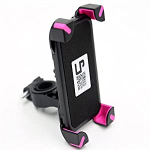 Bike Mount, LP Universal Bicycle Holder for iPhone 6 6S 6 Plus 5S 5C 4S,Samsung Galaxy S7 S6 S5 S4 Note 3 4 5,Nexus 5 6p,HTC,LG,Nokia,Other Smartphones,GPS Holds Devices ,Up To 3.7in Wide (Pink)