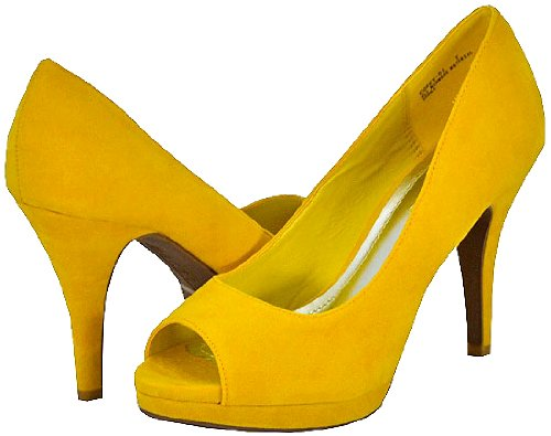 Bamboo Corey-01 Yellow Faux Suede Women Pumps