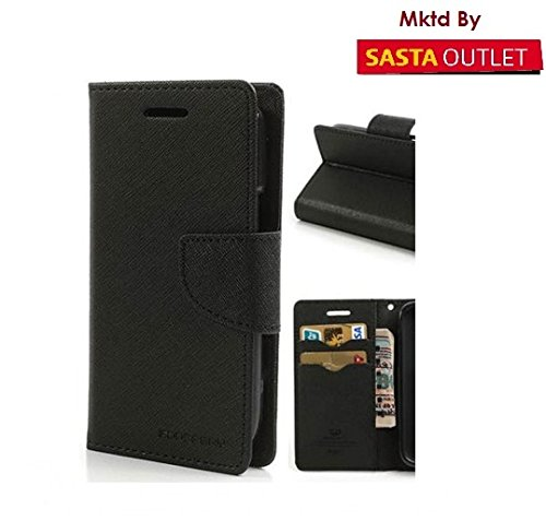 Samsung Galaxy Note 1 GT- i9220 N7000 Mercury Flip Wallet Diary Card Case Cover (Black) By Wellcare