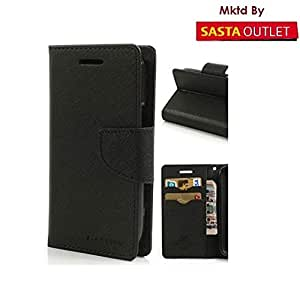 HTC One M9 Mercury Flip Wallet Diary Card Case Cover (Black) By Wellcare