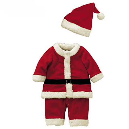 Boys Kids Red Santa Claus Christmas Costume+Hat 150cm