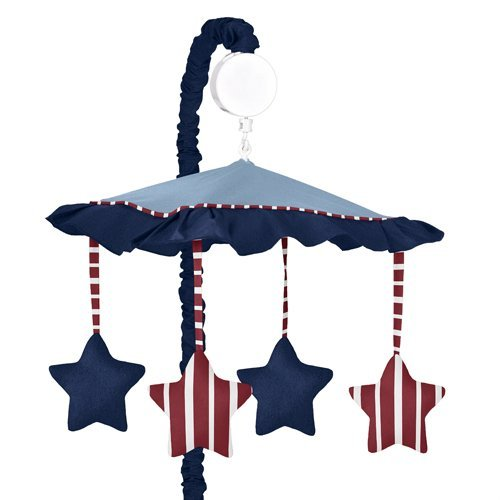 Red, White & Blue Vintage Aviator Musical Baby Crib Mobile by Sweet Jojo Designs (Vintage White Crib compare prices)
