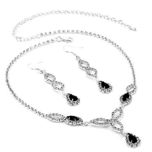 Silver Jet Black Rhinestone Teardrop Pear Shaped Dangle Earrings & Teardrop Pe...