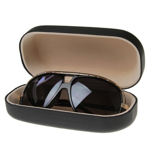 Large Sunglass Eyewear Hard Shell Case Protective Pouch (Black)