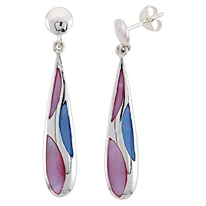 Sterling Silver Teardrop Pink & Blue Mother of Pearl Inlay Earrings