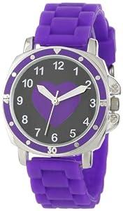 Frenzy Kids' FR302 Mood Dial Heart Analog Purple Jelly Watch