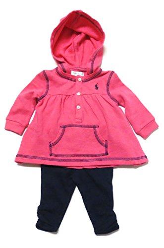 Ralph Lauren Baby Girls 2 Piece Set Leggings Top Outfit Playwear (6 Months, Hot Pink / Navy Blue) front-1035232