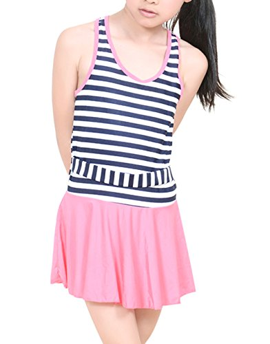 [Fakeface Kids Girls Cute Stripe Swimwear One Piece Swimsuit Swimming Costume Bathing Suits Beach Dress 7-13Yrs] (Girls Swimming Costumes Age 13)