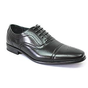 Delli Aldo Cap Toe Men's Dress Shoes Oxfords Lace up 19006 (7.5 U.S (D) M, BLACK)