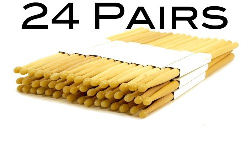 24-pairs-7a-nylon-tip-natural-maple-wood-drumsticks-48-drum-sticks-7an