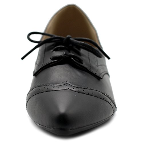 Ollio Women's Ballet Shoe Flat Enamel Pointed Toe Oxford (9.5 B(M) US, Black)