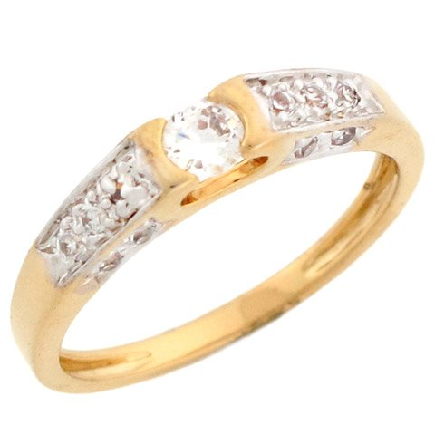 10k Yellow Gold Round CZ Promise Ring With Round Pave Accents