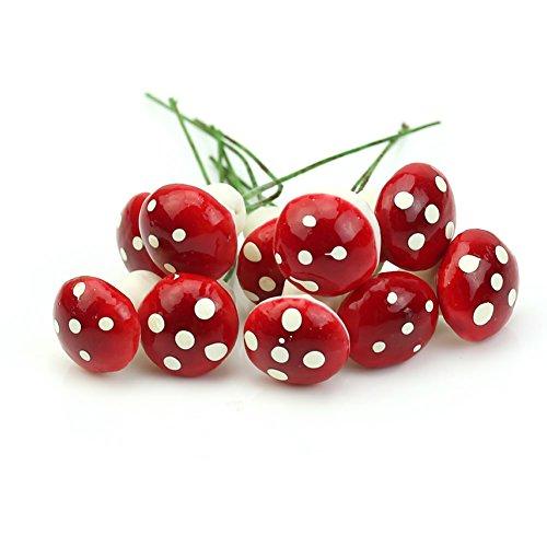 YSTD® Mini Red Mushroom Garden Ornament Home Decoration Miniature Plant Pots Fairy DIY Dollhouse (50pcs)