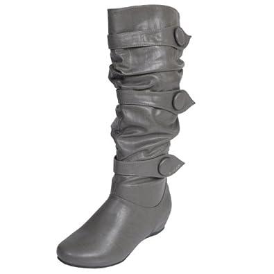 Brinley Co Button Trim Slouchy Boots (9 Wide Calf, Grey)