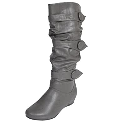 Brinley Co Button Trim Slouchy Boots (9 Wide Calf, Grey)