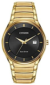 Citizen Watch Men's Quartz Watch with Black Dial Analogue Display and Gold Stainless Steel Gold Plated Bracelet BM6952-54E