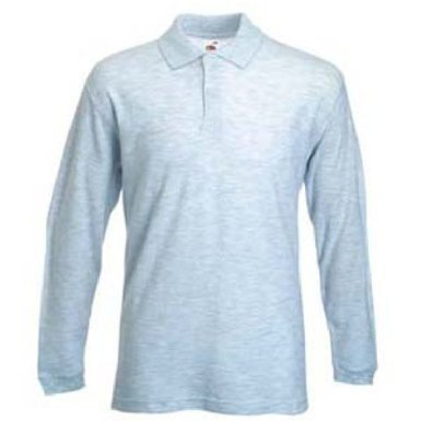 Fruit Of The Loom Mens 100% Cotton Premium Long Sleeve Pique Long Sleeve Polo Shirt (L) (Ash Grey)
