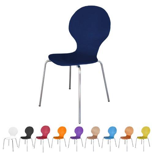 Stuhl-stapelbar-Design-Klassiker-Metall-Holz-sehr-belastbar-Blau