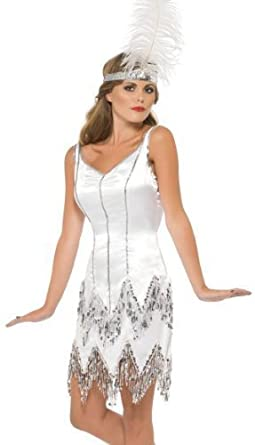 Ladies White Silver Sequinned 1920s 1930s Flapper