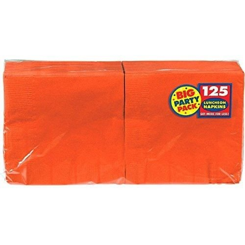 125 Count^^ ^ Luncheon Napkins, Orange Amscan Big Party Pack // ^ These 2-ply solid color frosty white napkins make it easy to coordinate with other colors and prints.
