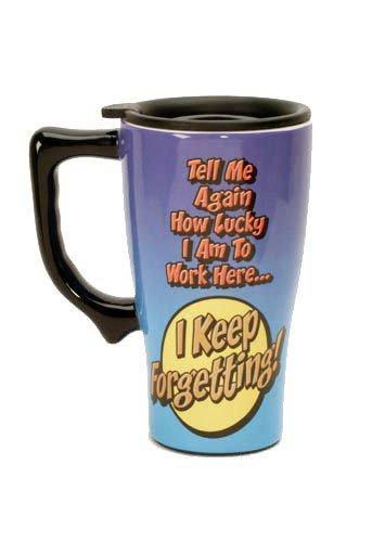 Lucky To Work Here Travel Mug