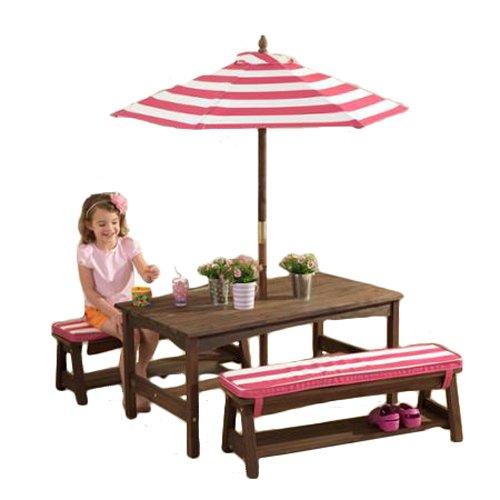 Kidkraft Table Bench Set Pink White Outdoor Furniture