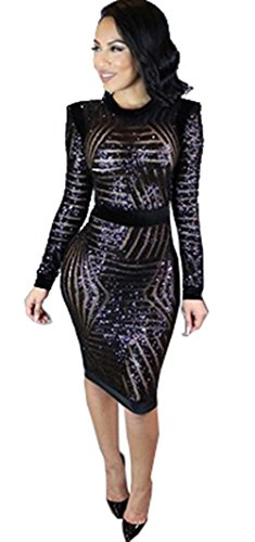 Kearia Womens Sexy Black Sequin Scoop Neck Long Sleeve Bodycon Party Midi Dress Black Small