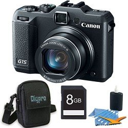 Canon PowerShot G15 12.1 MP Digital Camera with 5x Wide-Angle Optical Image Stabilized Zoom Deluxe Bundle With With 8 GB Secure Digital High Capacity (SDHC) Memory Card, Digpro Compact Camera Deluxe Carrying Case